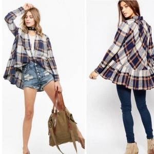 FP • Preppy Plaid Button Up High Low Long Sleeve